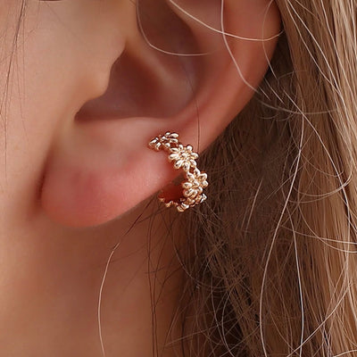 Cute Flower Ear Cuff Earring Conch Piercing Jewelry for Women in Rose Gold - www.MyBodiArt.com