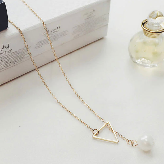 Tammy Dainty Simple Pearl Triangle Lariat Chain Necklace