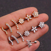 Cute Flower Ear Piercing Jewelry for Women Earring Studs 16G - www.MyBodiArt.com