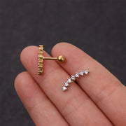 Cute Ear Climber Piercing Jewelry for Women Earring Studs Gold 16G - www.MyBodiArt.com