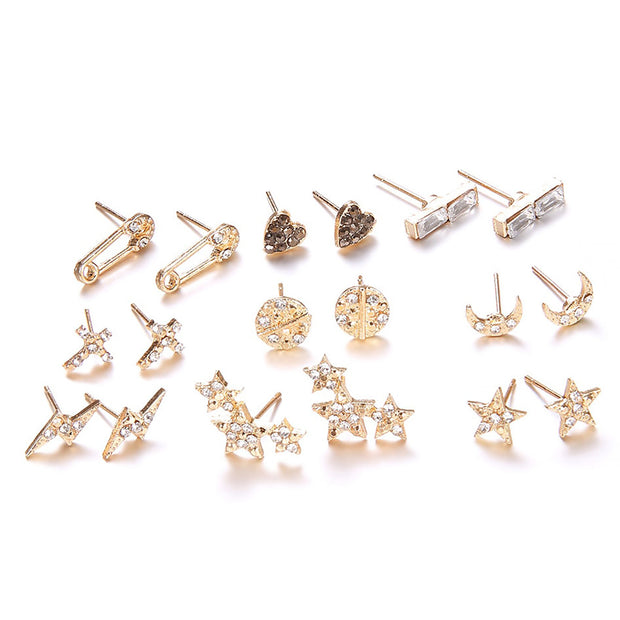 Cute Earring Stud Stud Ear Piercing Jewelry for Earlobe, Cartilage, Helix, Tragus with Cross, Heart, Star, Lightning, Moon in Gold - www.MyBodiArt.com