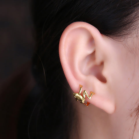 Cute Frog Ear Cuff Earring Cartilage Helix Conch Non Piercing Fashion Jewelry for Women in Gold, Silver - www.MyBodiArt.com