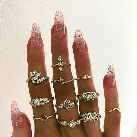 Boho Midi Stackable Gold Rings Statement Fashion Jewelry for Women for Teen Girls -  anillos de moda - www.MyBodiArt.com