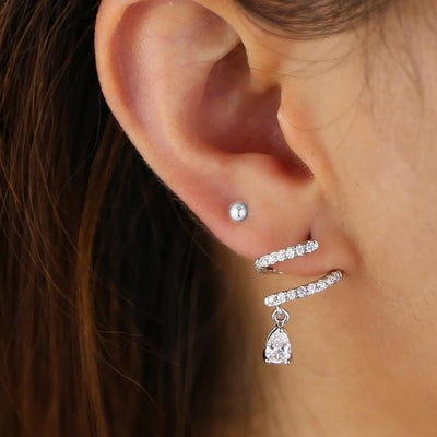 Pretty Spiral Crystal Drop Earring Fashion jewelry - www.MyBodiArt.com #earrings