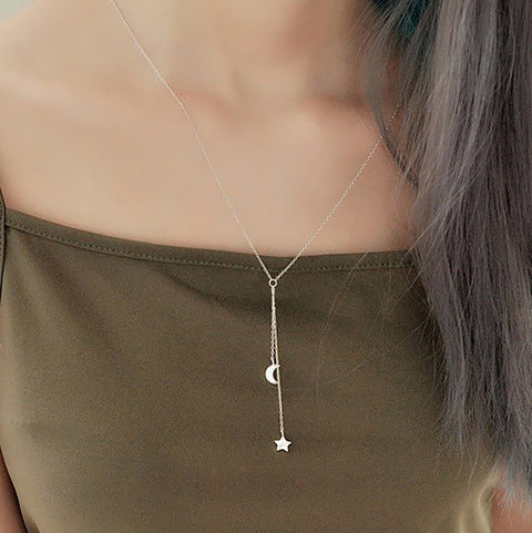 Cute Dainty Simple Moon Star Pendant Lariat Choker Necklace  in Silver -  collares lindos - www.MyBodiArt.com