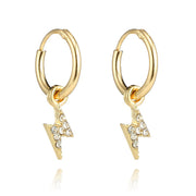 Tasia Cute Gold Lightning Dangle Drop Crystal Gold Huggie Hoop Earrings