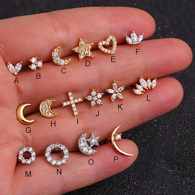Cute Moon Stars Ear Piercing Jewelry for Women Earring Studs 16G - www.MyBodiArt.com