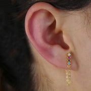 Cute Ear Piercing Jewelry Ideas for Women - Gold Rainbow Crystal Chain Earring - www.MyBodiArt.com #earpiercings #earrings