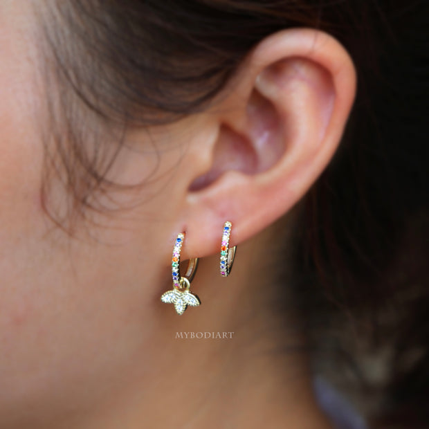 Cute Multiple Rainbow Hoop Earrings Ear Piercing Jewelry Ideas for Women for Cartilage, Helix, Tragus, Conch in Gold   -  ideas de joyería piercing del oído - www.MyBodiArt.com