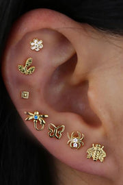 Pretty All The Way Around Ear Piercing Ideas - Gold Butterfly Earring Studs Jewelry for Cartilage Helix Lobe - www.MyBodiArt.com