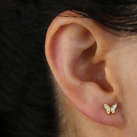 Cute Small Crystal Butterfly Ear Lobe Earring Stud - www.MyBodiArt.com #earrings