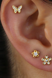 Cute Multiple Ear Piercing Butterfly Flower Ideas for Women - www.MyBodiArt.com #earrings