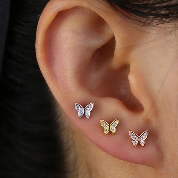 Evangeline Cute Butterfly Ear Piercing Jewelry Earring Studs