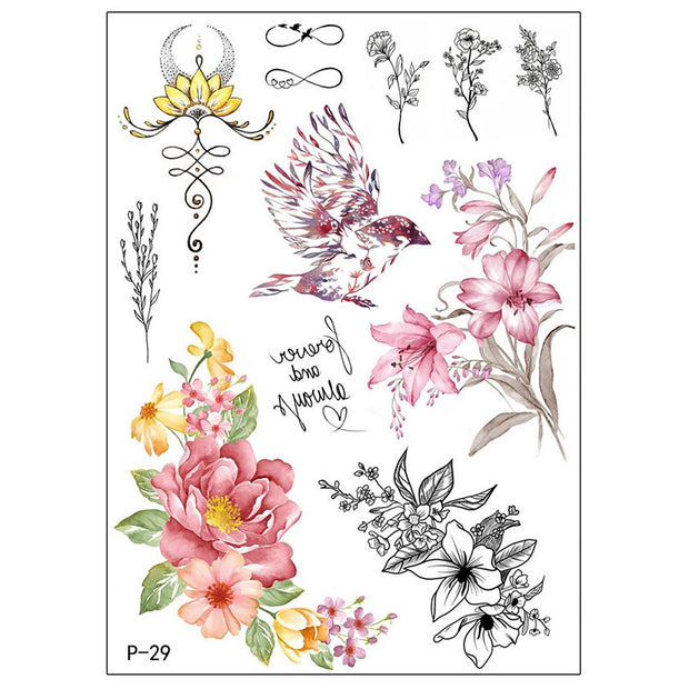 Carol Vintage Watercolor Floral Flower Temporary Tattoo