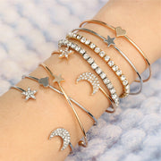 Cute Stacked Simple Crystal Star Moon Bangle Bracelet Summer 4 Pieces Set Brazalete -  www.MyBodiArt.com