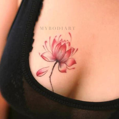 Small Watercolor Lotus Chest Tattoo Ideas for Women - Cute Trendy Floral Flower Tat for Teens - pequeñas ideas del tatuaje del cofre de flores de acuarela para las mujeres - www.MyBodiArt.com #tattoos