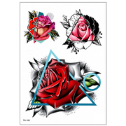 Brianne Trending Geometric Triangle Red Rose Temporary Tattoo