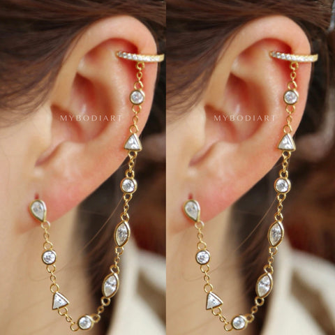 Cute Cartilage Ear Piercing Ideas for Women - Gold Silver Crystal Helix Ear Cuff Chain Earring Jewelry for Teen Girls -  linda oreja cuff cadena pendiente joyería - www.MyBodiArt.com