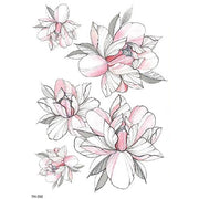 Fea Realistic Watercolor Pink Sketch Floral Flower Peony Temporary Tattoo