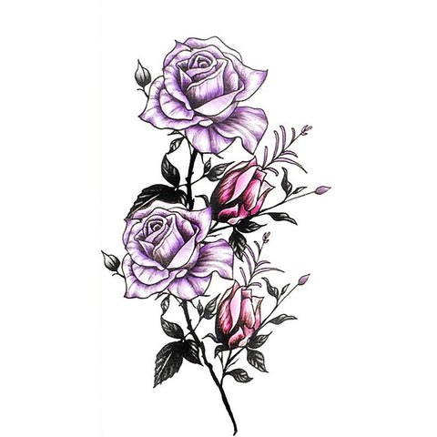 Lani Traditional Watercolor Purple Rose Floral Flower Temporary Tattoo