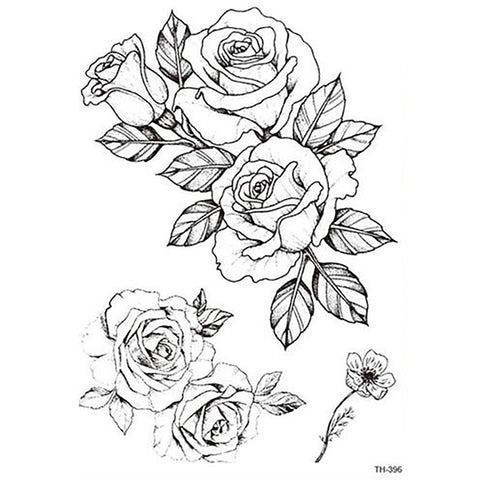 Vintage Floral Flower Rose Outline Temporary Tattoo Art Design -  tatuaje de rosa - www.MyBodiArt.com