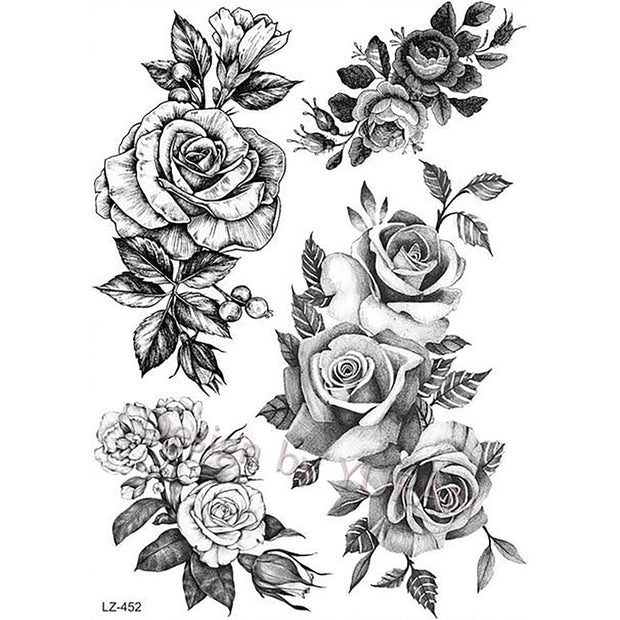 Vintage Realistic Black Rose Floral Flower Temporary Tattoo ideas for Women - www.MyBodiArt.com