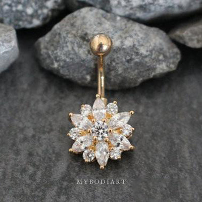 Cute Clear Crystal Flower Belly Button Ring Piercing Stud in Gold - www.MyBodiArt.com