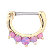 Opal Septum Clicker Gold & Purple - www.MyBodiArt.com