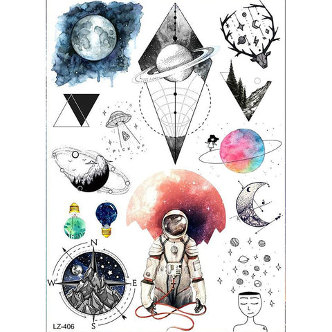Cool Watercolor Spaceman Astronaut Moon Planets Galaxy Moon Compass Temporary Tattoo Sheet Ideas - www.MyBodiArt.com