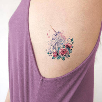 Unique Cute Watercolor Unicorn Small Rib Tattoo Ideas for Women for Teens - ideas pequeñas del tatuaje de la costilla del unicornio -  www.MyBodiArt.com #tattoos