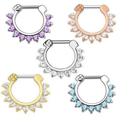 Brice Swarovski Crystal Daith Piercing Clicker Piece Set