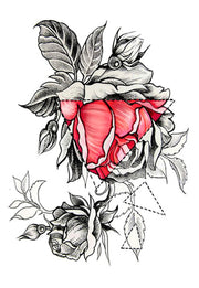 Sabella Geometric Gothic Black and Red Rose Temporary Tattoo