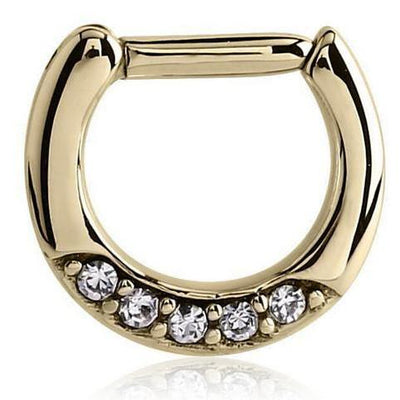 Gold Swarovski Crystal Septum Clicker at MyBodiArt.com