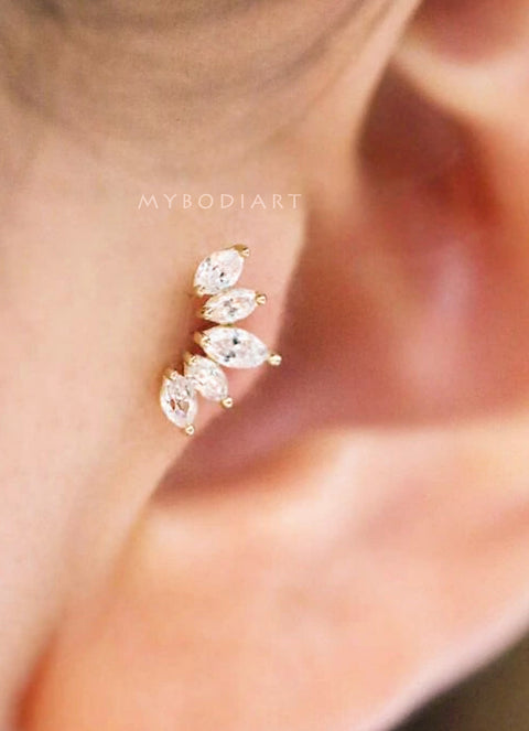 Cute Tragus Ear Piercing Jewelry Ideas for Women - Feminine Pretty 5 Crystal Gold Silver Rose Gold - lindas ideas para perforar orejas para mujeres - www.MyBodiArt.com