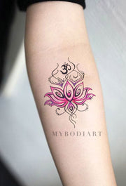 Tribal Pink Watercolor Lotus Forearm Tattoo Ideas for Women Bohemian Boho Chic Floral Flower Tattoos - ideas de acuarela acuarela lirio lirio tatuaje para las mujeres - www.MyBodiArt.com