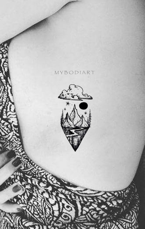 Womens Unique Nature Rib Tattoo Ideas Mountain Trees Moon Stars Nature - www.MyBodiArt.com