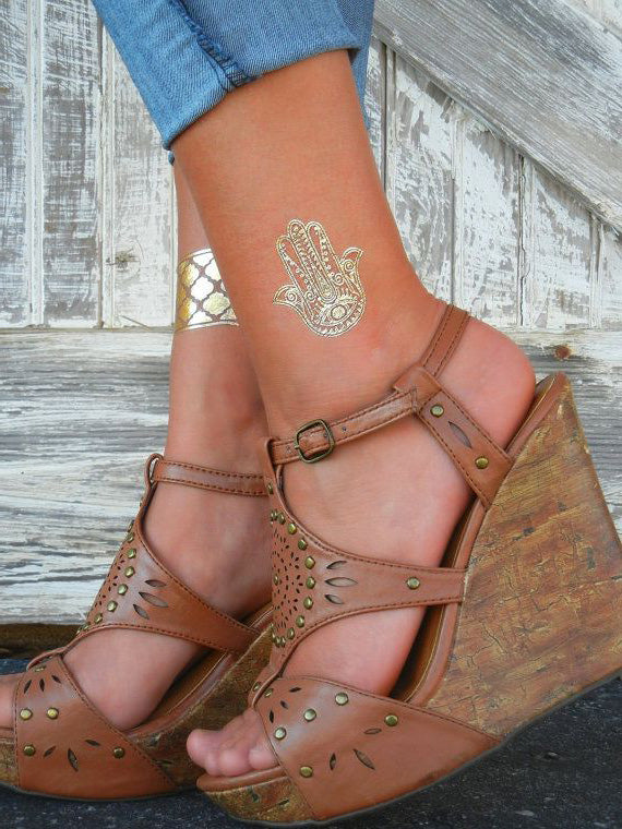 Cute Boho Hamsa Hand Simple Ankle Tattoo Ideas for Women at MyBodiArt.com