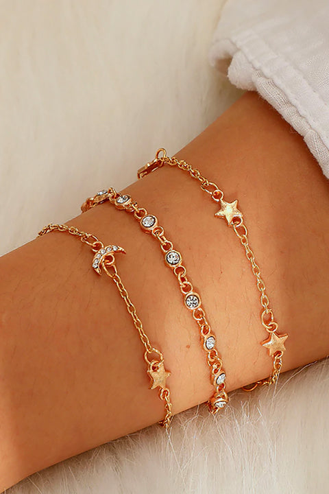 Cute Dainty Gold Moon and Star Ankle Bracelet Set Fashion Jewelry for Women for Teen Girls - www.MyBodiArt.com