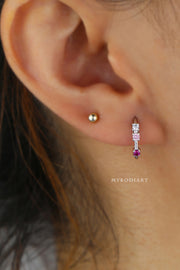 Cute Crystal Gold Small Huggie Hoop Earring Fashion Jewelry for Women - lindo arete de oro - www.MyBodiArt.com