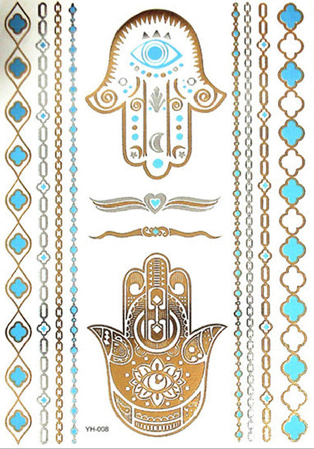 Pogi Tribal Metallic Gold Hamsa Temporary Tattoo Set at MyBodiArt.com