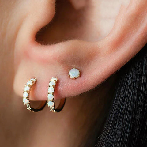 Cute Opal Gold Hoop Huggie Earrings Fashion Jewelry Ideas for Women -  pendientes de aro de oro - www.MyBodiArt.com #earrings