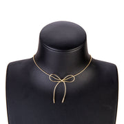 Kae Modern Minimal Bow Bowknot Simple Choker Necklace in Silver or Gold Womens Jewelry - www.MyBodiArt.com