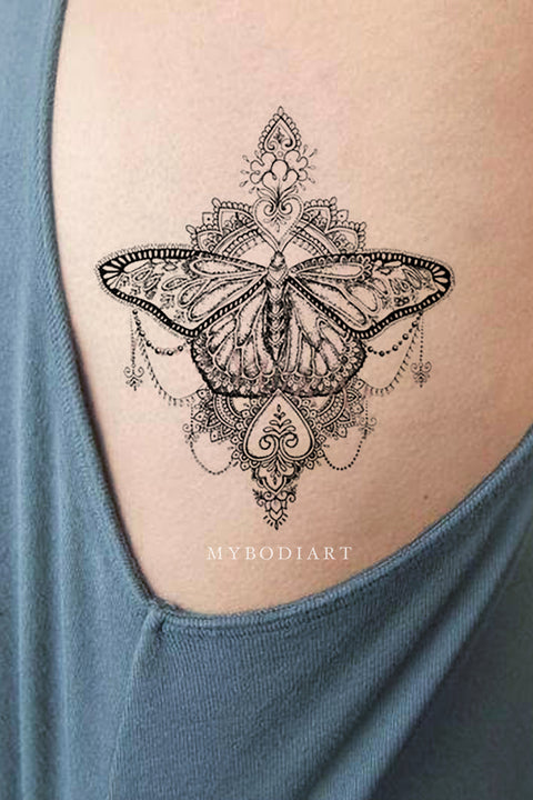89336fa9d Coeur Geometric Tribal Boho Black and White Mandala Butterfly Temporary  Tattoos