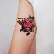 Vintage Rose Bicep Arm Tattoo Ideas For Women Watercolor Floral Flower Triangle Linework -  ideas de tatuaje rosa - www.MyBodiArt.com