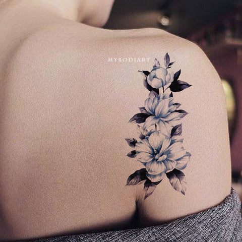 Cute Beautiful Vintage Blue Watercolor Floral Flower Shoulder Tattoo Ideas for Women -  Azul acuarela floral flor hombro tatuaje ideas para mujeres - www.MyBodiArt.com #tattoos