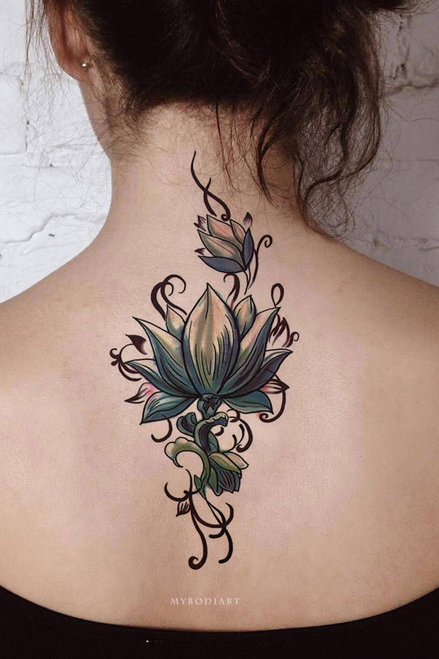 Lotus Back Tattoo Ideas for Woman Tribal Boho Floral Flower Side Tat - tatuaje de loto - www.MyBodiArt.com