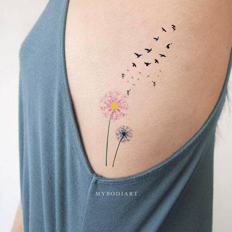 Cute Watercolor Pink Black & White Rib Tattoo Ideas for Women -  ideas de tatuajes de costillas florales - www.MyBodiArt.com #tattoos