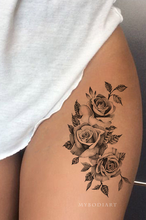Realistic Vintage Rose Black Floral Flower Thigh Side Temporary Tattoo Ideas for Women - Ideas del tatuaje del muslo rosado para las mujeres - www.MyBodiArt.com #tattoos
