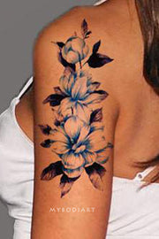 Cute Blue Floral Flower Arm Sleeve Tattoo Ideas for Women -  Manga del brazo de la flor azul tatuaje ideas para mujeres - www.MyBodiArt.com