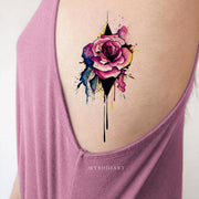 Cute Watercolor Floral Flower Rose Rib Tattoo Ideas for Women -  idées de tatouage floral rose - www.MyBodiArt.com #tattoos